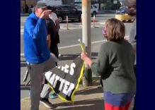 """White vigilantes caught on video yelling about """"fa***t energy"""" & attacking protestors"""