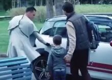 This ridiculously offensive political ad even includes an old woman spitting at a gay couple