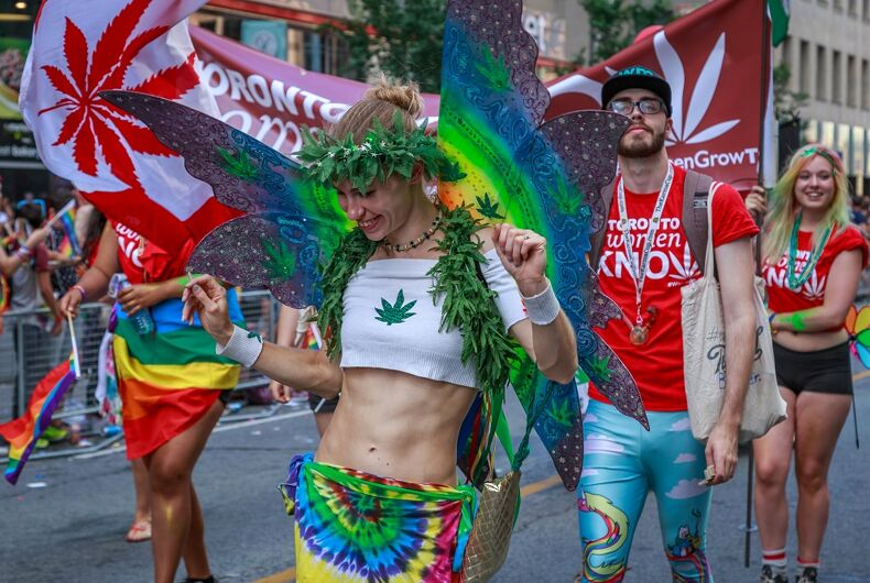 Supporters of cannabis march in Toronto Pride in 2016