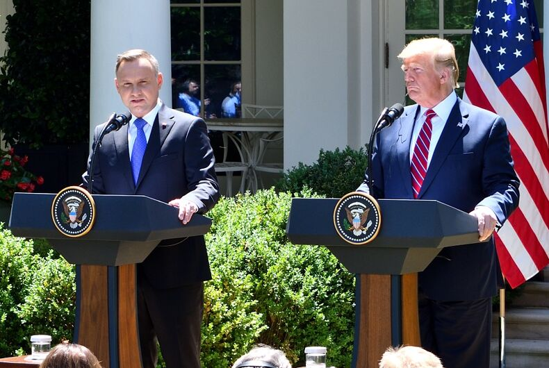 Andrzej Duda and Donald Trump held a joint press conference at the White House in 2019.