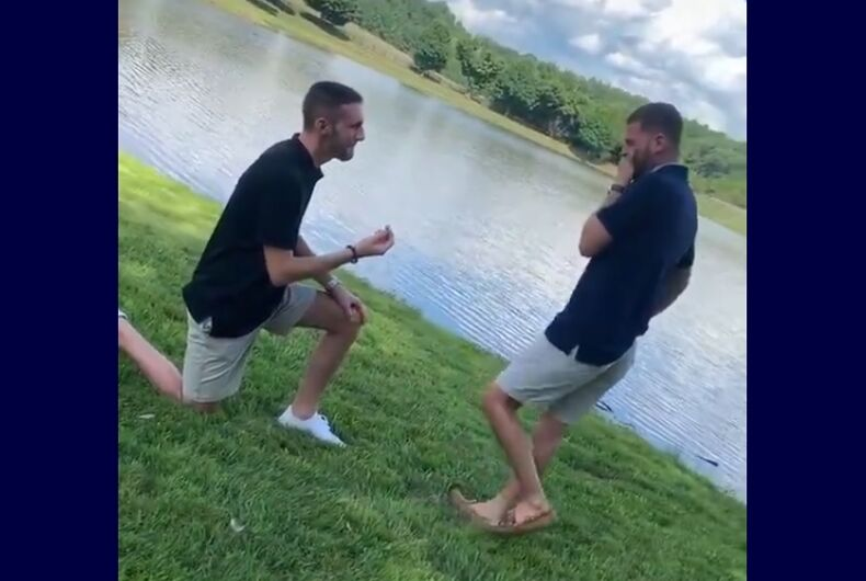 Cody Boykin proposing to his boyfriend