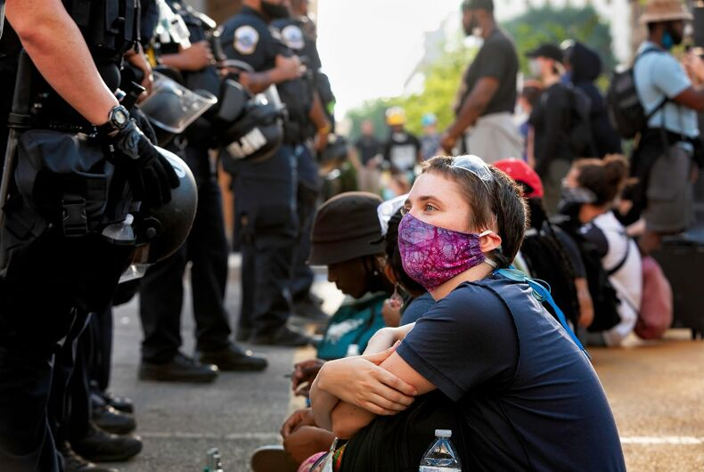 Police face off against protestors at a June 23 demonstration in D.C.