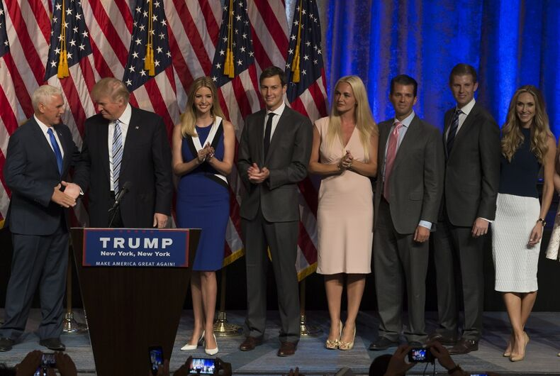 Donald Trump, Mike Pence, and part of his family.