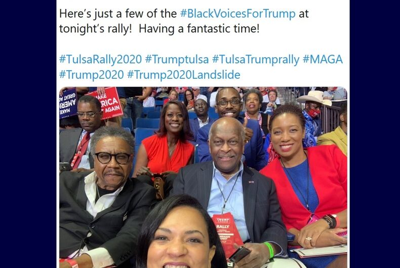 Herman Cain tweeted from a Trump rally on June 21, 2020, without a mask.