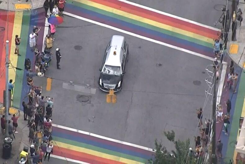 John Lewis's motorcade at the rainbow crosswalk in Atlanta