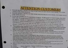 """Grocery store's sign about COVID masks says LGBTQ people """"spread deadly diseases"""""""