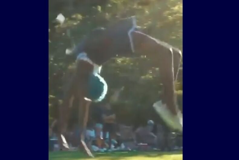 Zaya Wade doing a backflip
