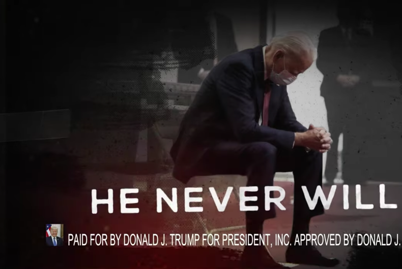 A new Trump ad mocks Joe Biden for praying