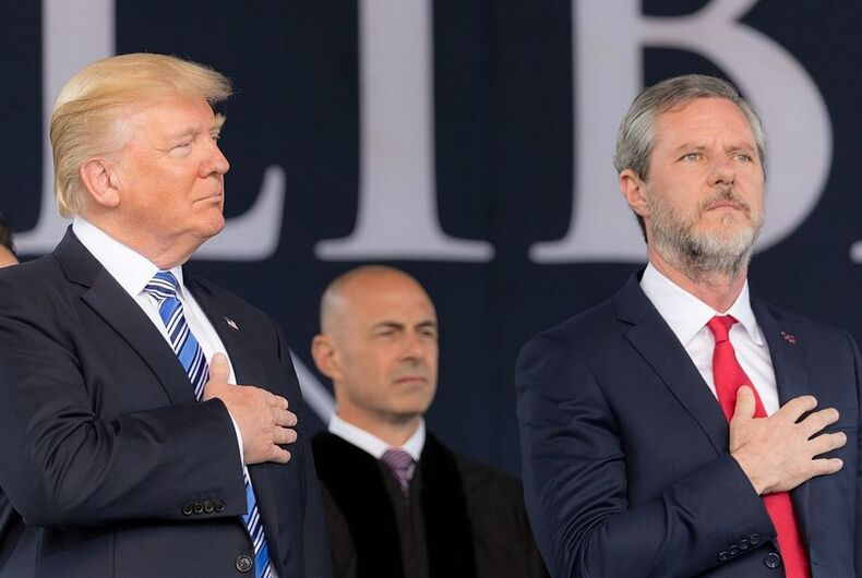 Donald Trump with supporter Jerry Falwell Jr.