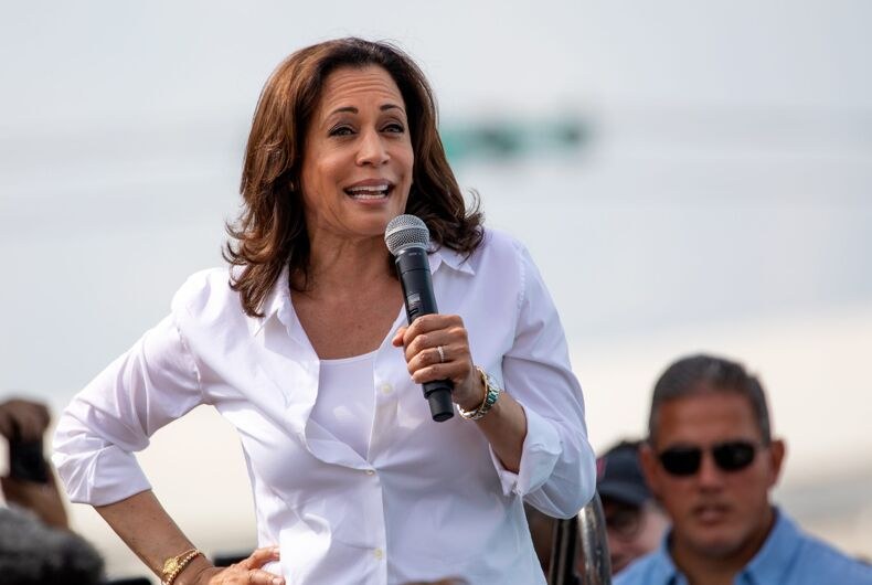 August 10, 2019: United States Senator and Democratic presidential candidate Kamala Harris greets supporters at the Iowa State Fair political soapbox in Des Moines, Iowa.