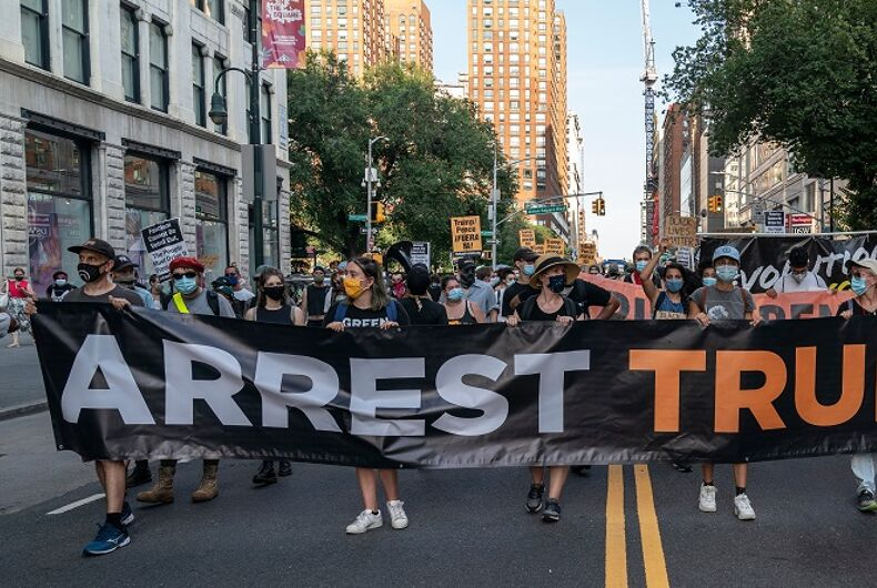 July 25, 2020: About 200 hundred protesters participate in rally and march organized by Refuse Fascism in NYC