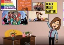 Teacher put on leave after GOP candidate whines about rainbow poster in virtual classroom background