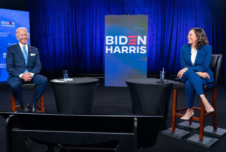 Democratic presidential nominee Joe Biden and vice presidential nominee Kamala Harris speak to supporters