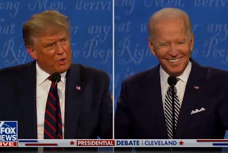 Donald Trump and Joe Biden at the presidential debate last night