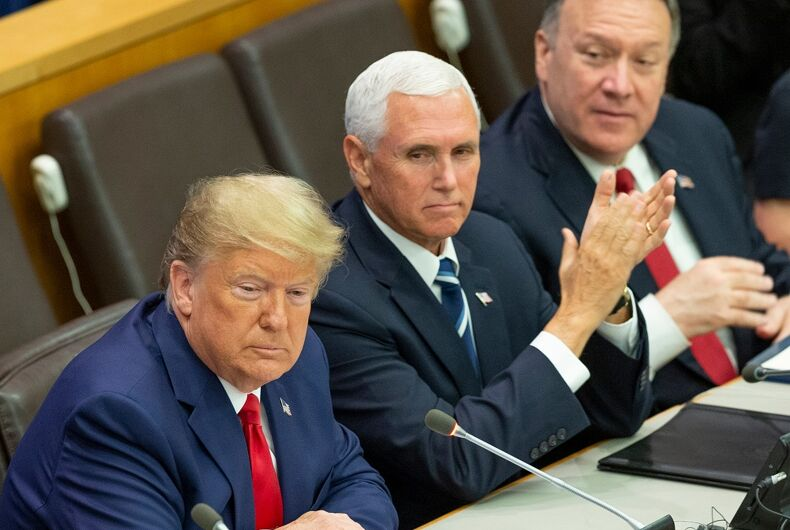 September 23, 2019: Donald Trump speaks as Mike Pence and Mike Pompeo listen during UN global call to protect religious freedom meeting at UN Headquarters