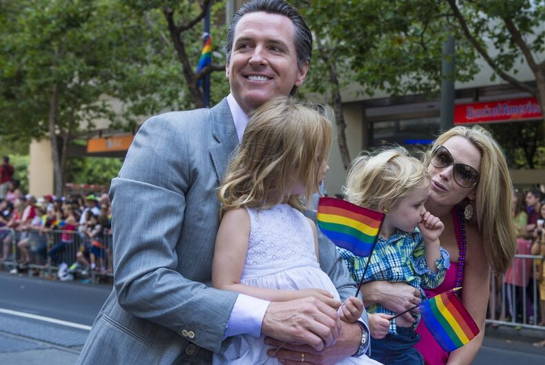 Then Lt. Gov. Gavin Newsom and his family at San Francisco Pride in 2013