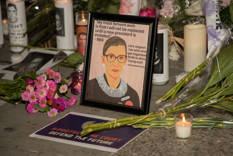 September 19, 2020: A makeshift memorial to United States Supreme Court Justice Ruth Bader Ginsburg is seen outside the New York State Supreme Court Building in Foley Square.