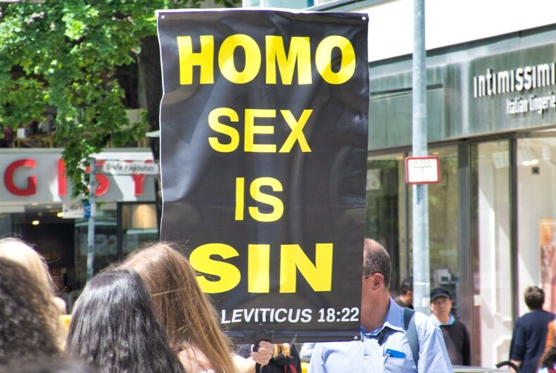 A Christian group protests Pride in Hannover, Germany that says