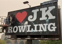 """""""I ❤️JK Rowling"""" billboard vandalized & removed hours after it went up"""