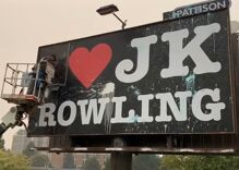 """I ❤️JK Rowling"" billboard vandalized & removed hours after it went up"