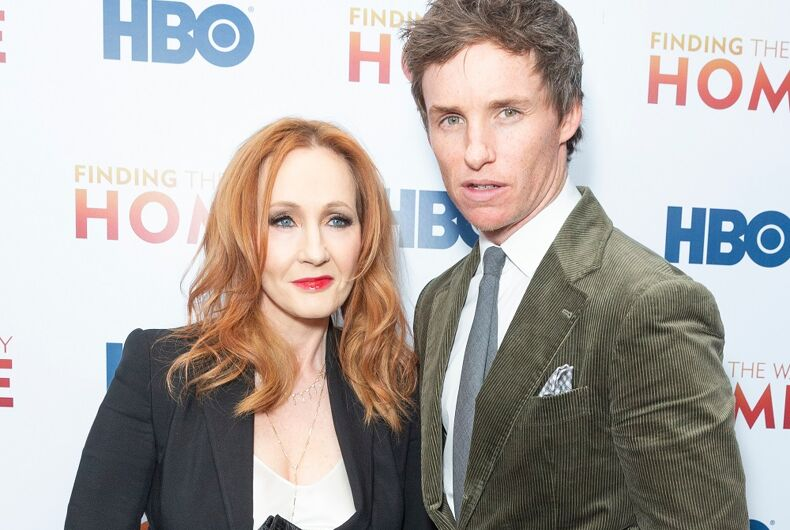 J.K. Rowling and Eddie Redmayne at a December 2019 event in NYC.