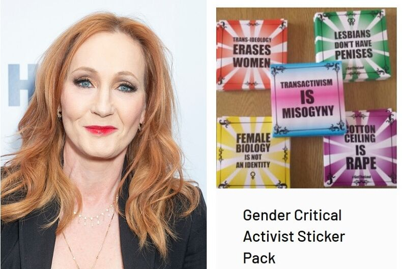 J.K. Rowling and some of the merchandise on the site she's promoting