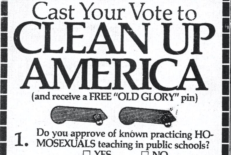 Anita Bryant and Jerry Falwell's ad in Florida newspapers