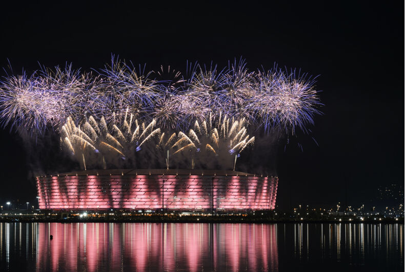 Fireworks explode above the stadium during the Closing Ceremony for the Baku 2015 European Games.