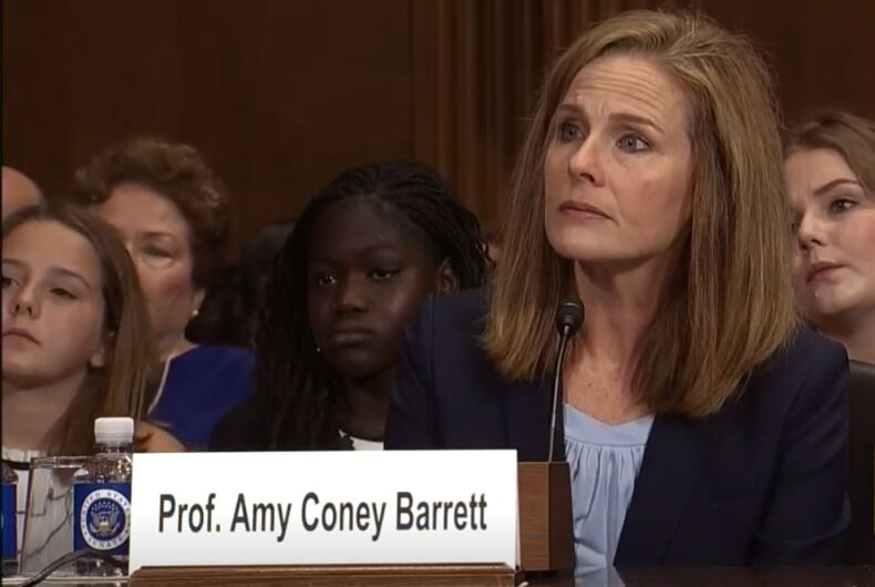 Amy Coney Barrett at her 2017 confirmation hearings for a federal judgeship.