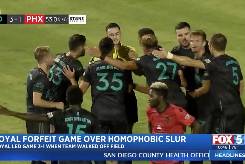 San Diego Loyal players argue with the referee