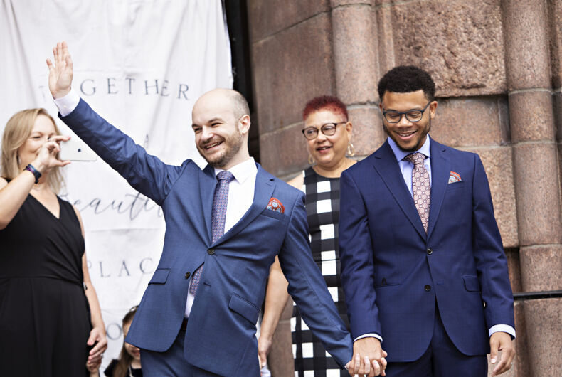 Cole and Lawrence were married on the steps of St. Louis City Hall to protest Amy Coney Barrett's nomination to the Supreme Court.
