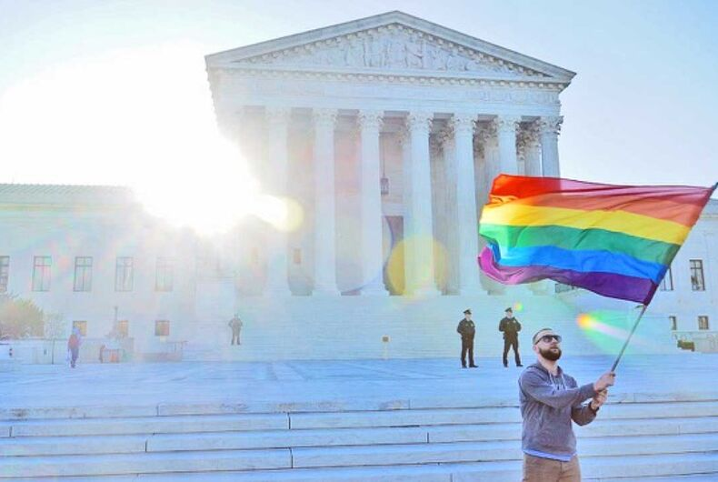 The pride flag flies outside the US Supreme Court