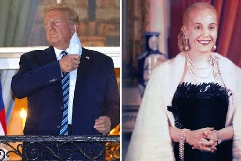 Trump's impersonation of former Argentinian First Lady Eva Peron is being widely mocked online.