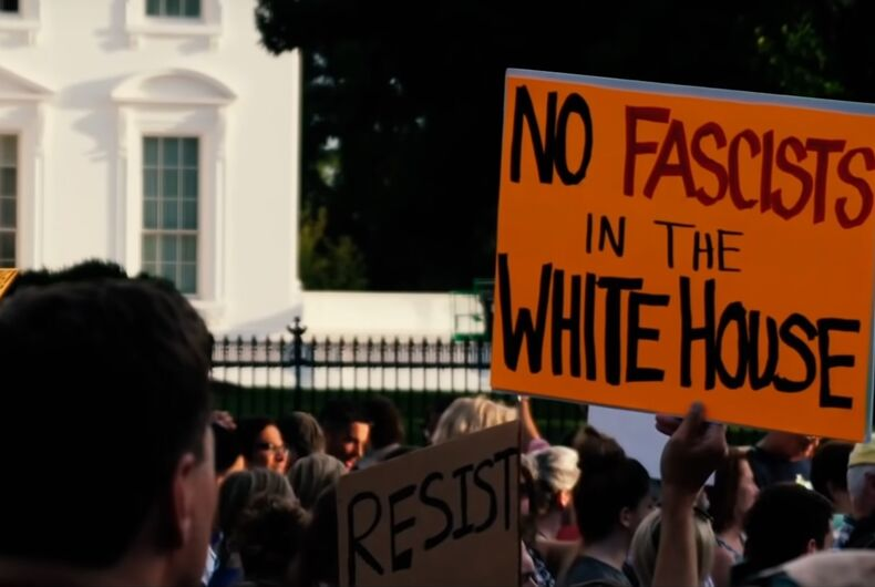 A White House protest is included in the video