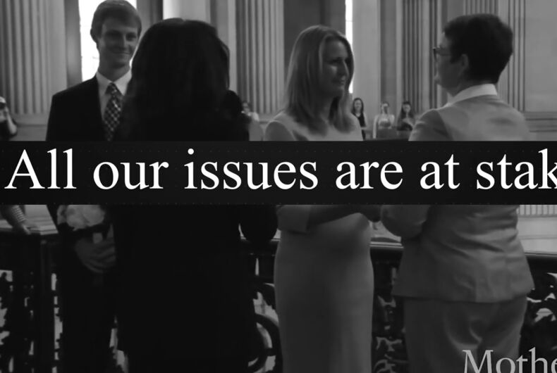 The NOM ad ties protests against police brutality to marriage equality and says they're reasons to support a conservative Supreme Court