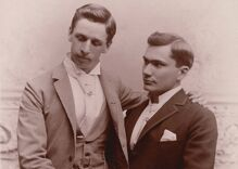 Historical photos of men in love: Posing for a portrait in the 1800s