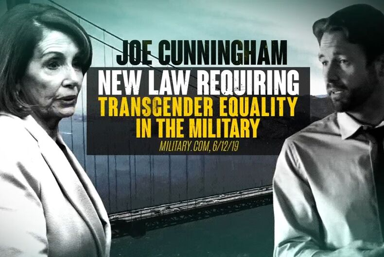 Scene from the ad that shows Joe Cunningham and Nancy Pelosi in a scary grayscale.