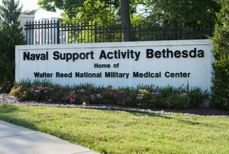 BETHESDA, MD - JUNE 30, 2018: Sign at the North Gate to Walter Reed National Military Medical Center