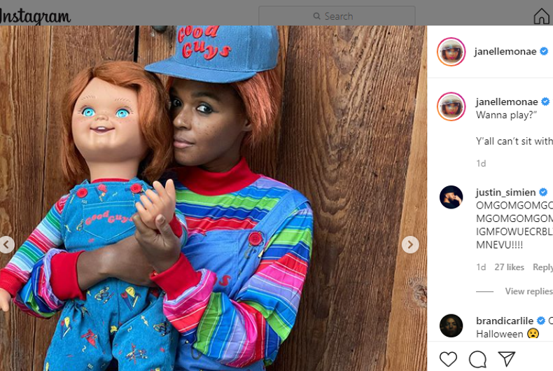 Janelle Monáe dressed as Chucky for Halloween, as posted to Instagram.