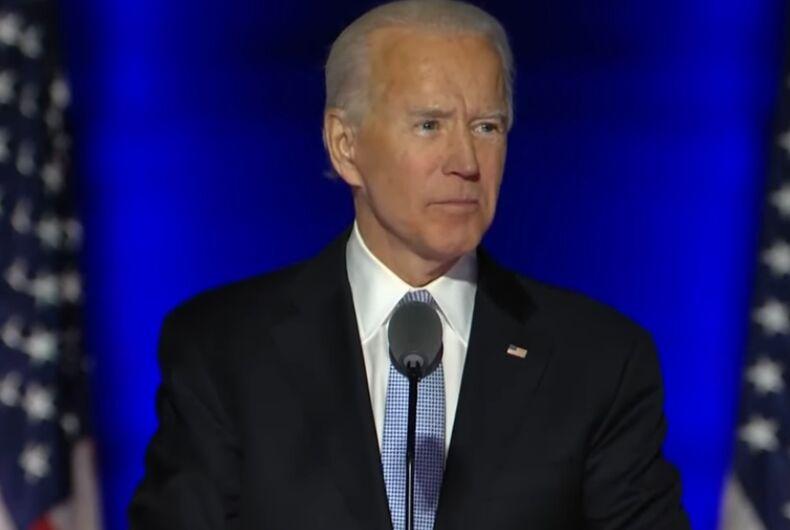 Joe Biden giving his 2020 Election victory speech.