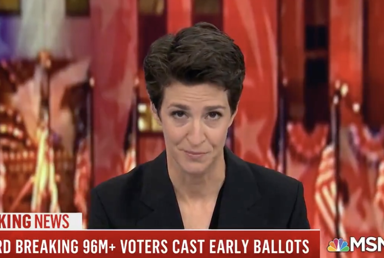 Rachel Maddow on-air during a segment.