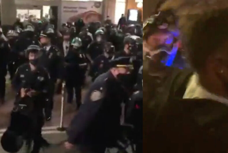 Police officers at Union Square (left) and Public Advocate Jumaane Williams being shoved in crowd (right).