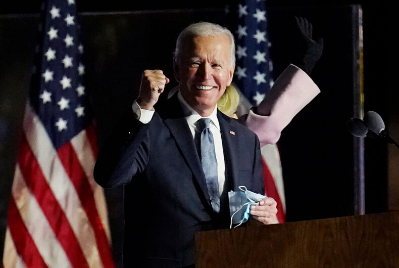 Democratic presidential candidate former Vice President Joe Biden speaks to supporters in Wilmington, Delaware.