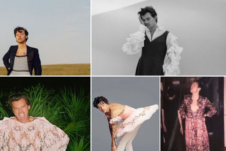 Pop star Harry Styles has a history of gender bending clothing choices