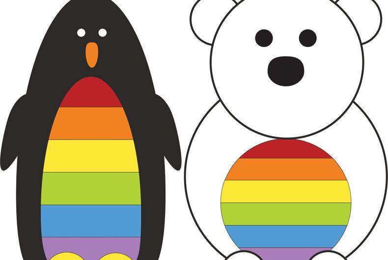 The Polar Pride-designed penguin and polar bear