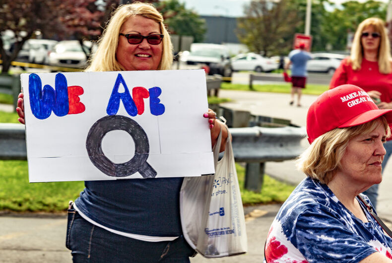 WILKES-BARRE, PA - AUGUST 2, 2018: A woman holds a