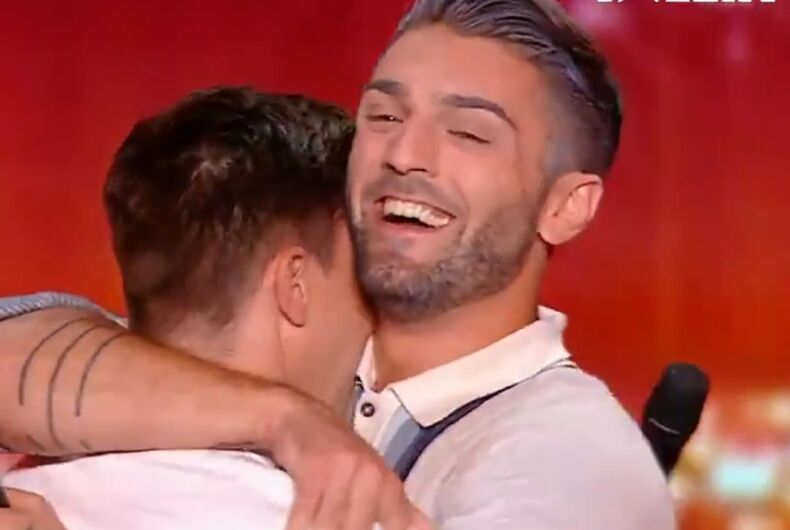 Alex and Alex hug after their performance