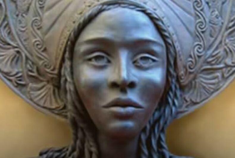 A statue of Black lesbian queen Calafia, namesake of California