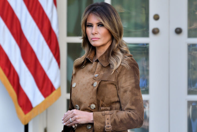 NOVEMBER 26, 2019: First Lady Melania Trump stands in the Rose Garden of the White House as the President pardons a Turkey named
