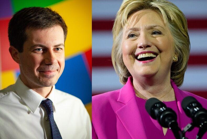 Pete Buttigieg and Hillary Clinton